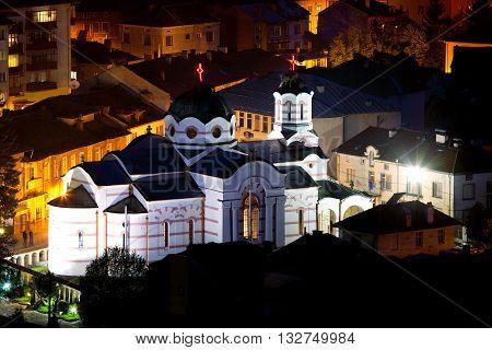 orthodox small beautiful church night landscape Bulgarian town of Batak