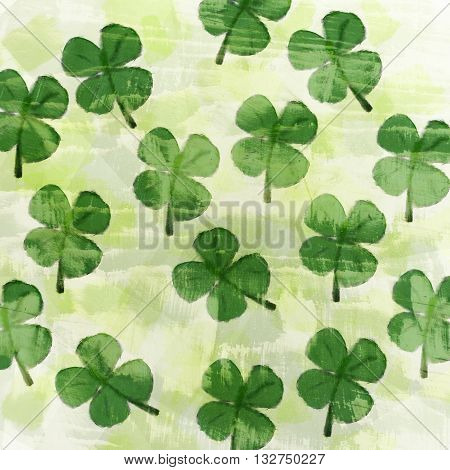 seamless pattern background with several clover plants