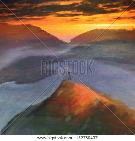 Digital watercolor paintin landscape mountain and lake at sunset