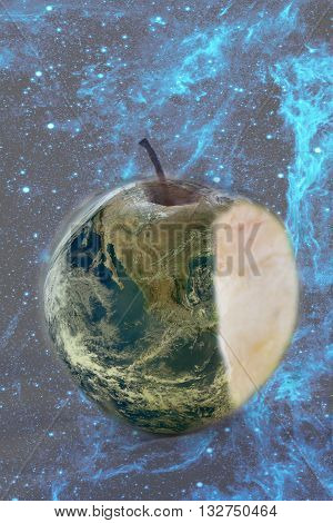 apple earth with bite over the space blue background save earth conceptual image- elements of this image are furnished by NASA
