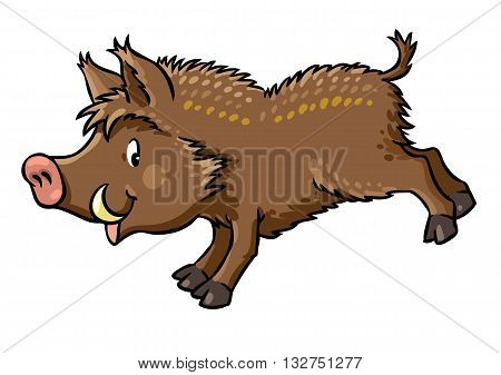 Children vector illustration of funny jumping boar or wild pig.