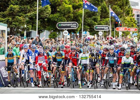 MELBOURNE, AUSTRALIA - FEBRUARY 1: Riders line up for the start of the inaugral Cadel Evans Great Ocean Road Race
