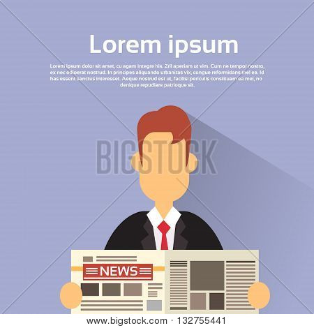 Business Man Hold News Paper Read Newspaper Vector Illustration