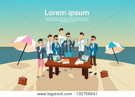 Business People Group Office Desk Working Beach Summer Vacation Vector Illustration