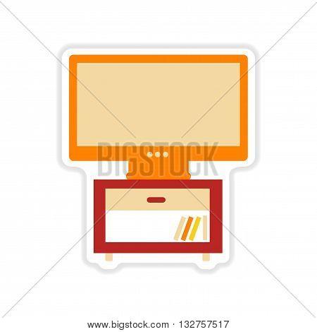 paper sticker on white  background plasma TV
