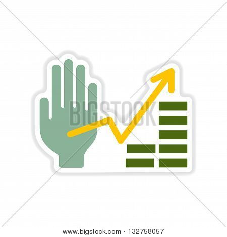 paper sticker on white  background hand financial chart