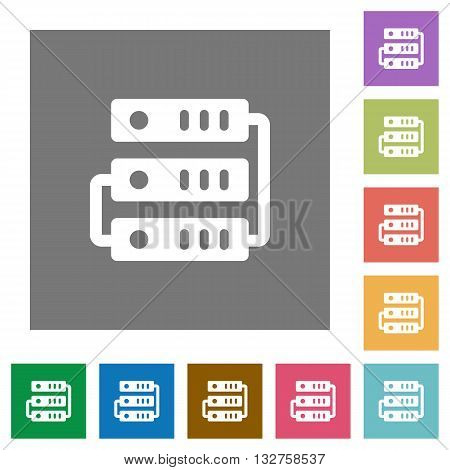 Servers flat icon set on color square background.