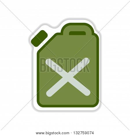 paper sticker on the white  background jerrycan