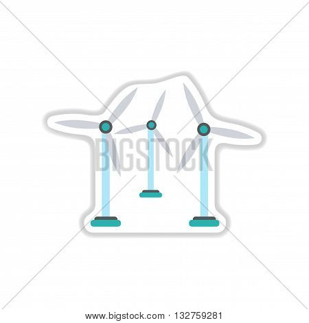 paper sticker on white  background wind mill