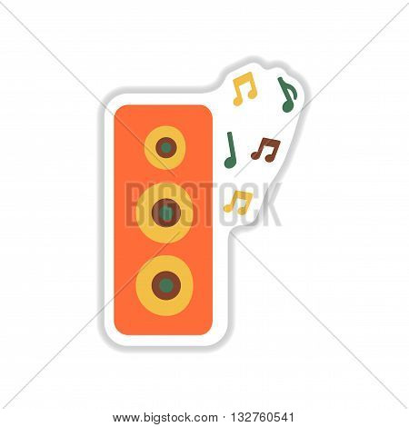 paper sticker on white  background musical speaker