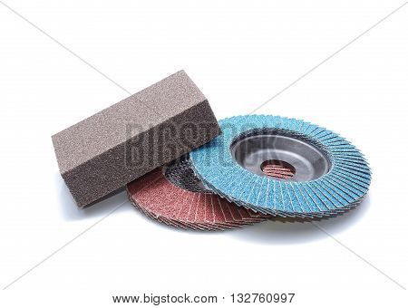 Abrasive wheels on a white background in studio