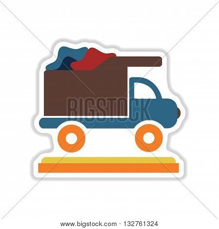 paper sticker on white  background garbage truck