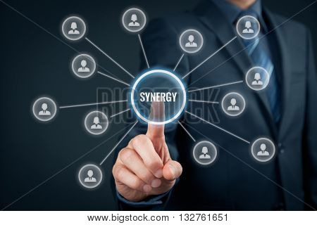 Synergy opportunity concept. Manager (businessman) connect team members with text synergy cooperating team connected to synergy button.