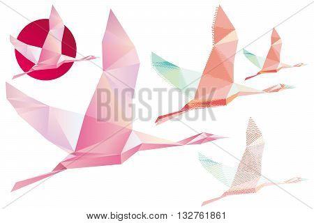 Shadoof, Abstract Crystal Pink shadoof, shadoof in flight, wildlife bird, symbol