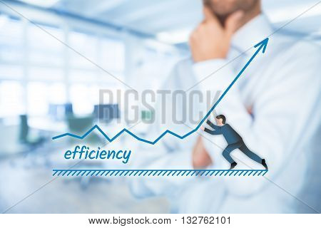 Manager (businessman coach leadership) plan to increase efficiency.