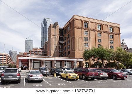 DALLAS TX USA - APR 7 2016: The Sixth Floor Museum at Dealey Plaza. The museum presents the life death and legacy of President John F. Kennedy.