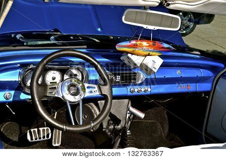 FARGO, NORTH DAKOTA, June 1, 2016: The dash of a 1962 Nova GT Chevy is displayed in downtown Fargo where