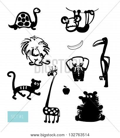 Vector illustration. Cute exotic animals set: funny lion, tiger, monkey, turtle and bear. Black on white background.