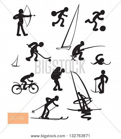 Vector illustration. Sport people icons set. Black on white background.