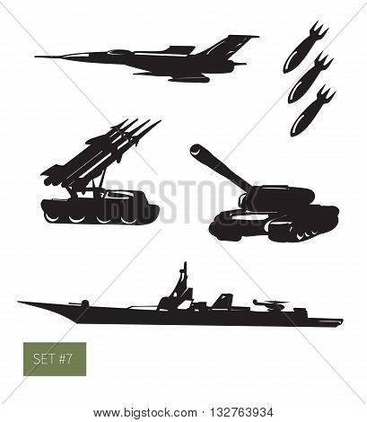 Vector illustration. Military set: frigate, aircraft, tank and other weapon. Black on white background icons.