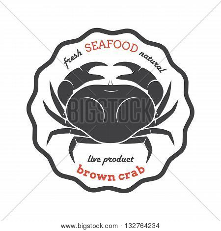 Vector brown crab silhouette. Crab logo. Crab label. Template for restaurants stores food packaging. Seafood illustration.