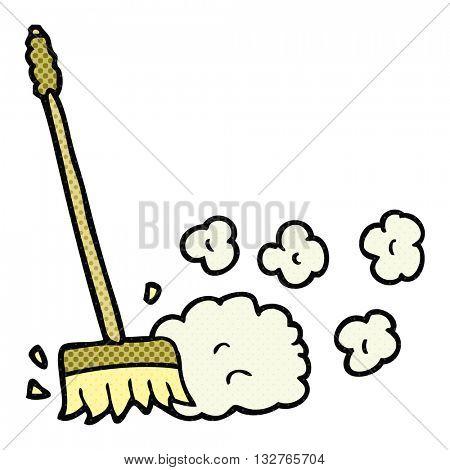 freehand drawn cartoon sweeping brush