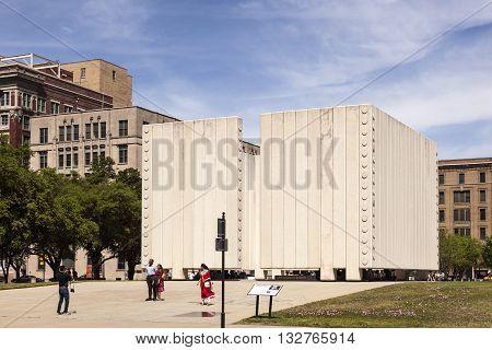 DALLAS USA - APR 7: John Fitzgerald Kennedy Memorial in the city of Dallas. April 7 2016 in Dallas Texas United States
