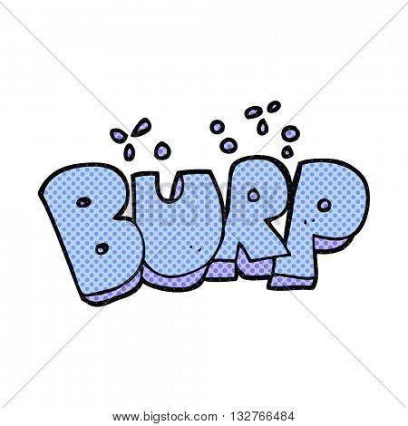 freehand drawn cartoon burp text poster