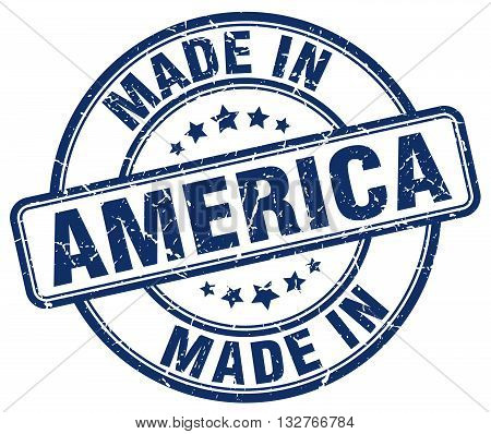 made in America blue round vintage stamp.