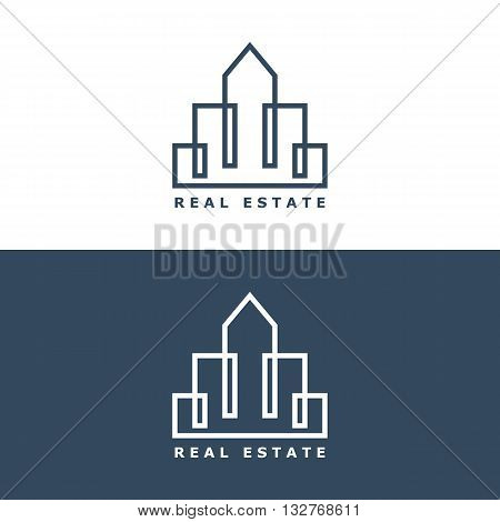 building logo. thin line real estate logo template. skyscrapers concept for elite real estate company or agency. isolated on white background. vector illustration