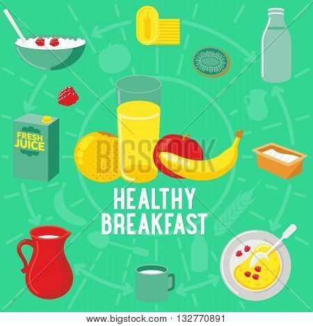 Vector Flat Banner Breakfast. Healtly