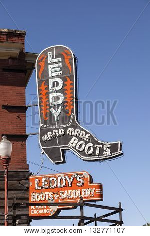 FORT WORTH USA - APR 6: Leddy Hand Made Cowboy Boots Shop in the Fort Worth Stockyards historic district. April 6 2016 in Fort Worth Texas USA