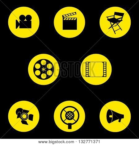 Vector. A set of cinematographic icons. Movie maker's accessories. Graphic isolated illustration. Director's chair camera cut tape speaker microphone projector.