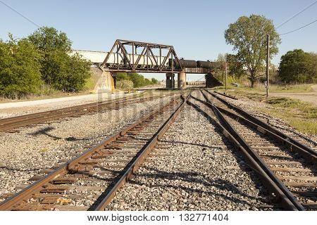Railroad crossing with a bridge in southern Texas United States