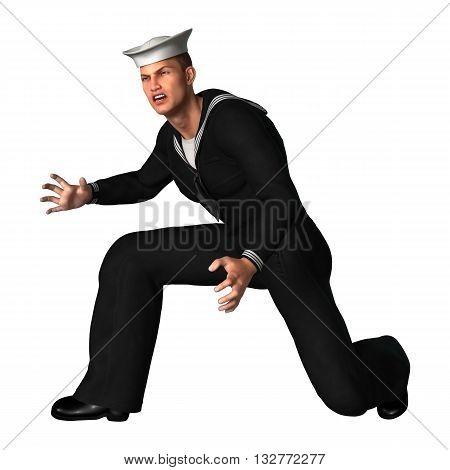 3D Rendering Seaman On White