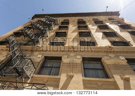 Old building downtown in the city of Fort Worth. Texas USA