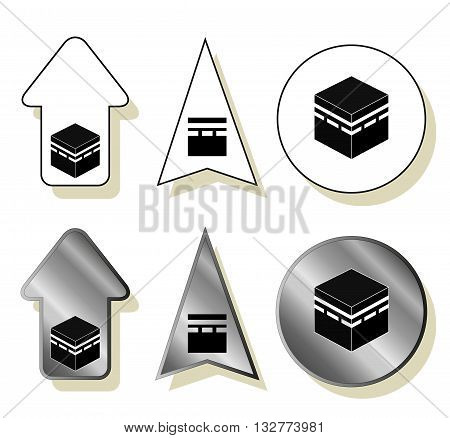Qibla - muslim prayer direction. Kaaba direction. Mecca. Saudi Arabia. Qibla - Islamic -Arab- term used for the direction for offering a prayer which is Kaaba in Mecca. Vector isolated illustration.