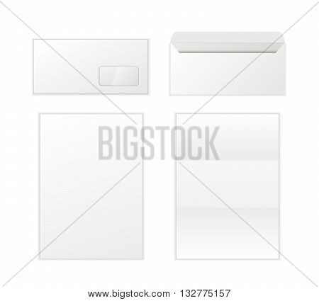 Envelope and letters template isolated on white background. Back and front view.