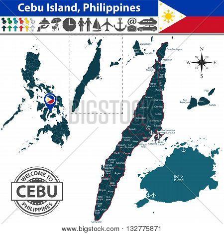 Map Of Cebu Island, Philippines