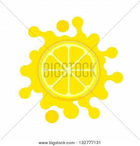 Citrus Fruit. Sliced lemon. Fresh lemon wedge Concept. Organic natural fruit. Tropical citrus. Natural product juice icon. Juice drops splashes isolated. Vector Illustration