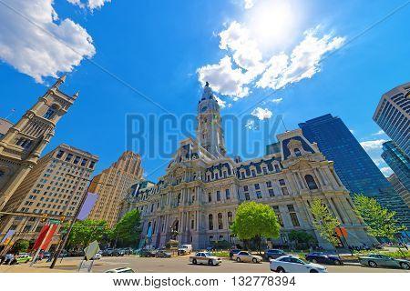 Philadelphia City Hall With William Penn Figure On Tower