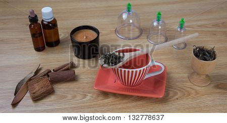 Acupuncture Needles, Herbs, Cup, Oil, Tcm Traditional Chinese Medicine Concept Photo