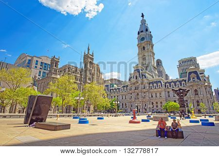 Square At Philadelphia City Hall With Sculptures