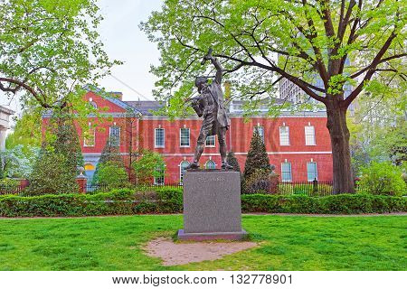 The Signer Statue In Signers Park Of Philadelphia In Pa