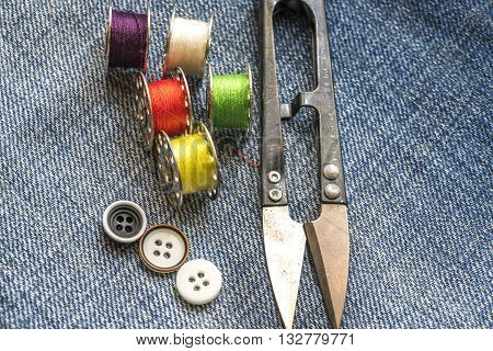 Buttons and sewing accessories with natural lighting