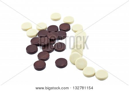 backgammon chips isolated on a white background