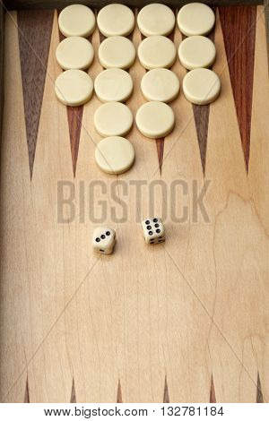 Backgammon Game With White Pieces And Dice