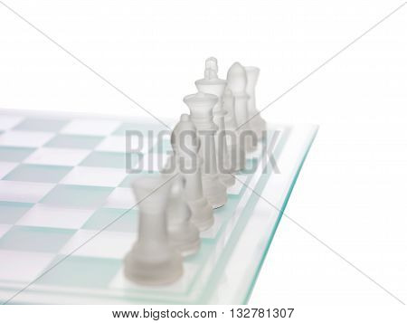 close up of chess board isolated on a white background