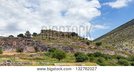 View of Mycenae citadel in Peloponnese, Greece