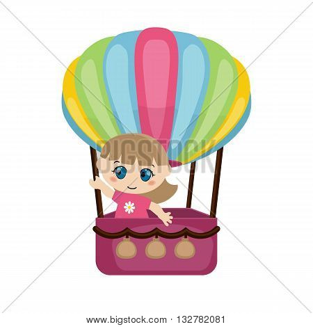 Little girl flying in a hot air balloon on white background.